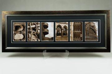 Ein Bild, das den Namen Bremen zusammengesetzt aus Buchstaben-Kunstfotografien zeigt. Im Passepartout betont und hochwertig gerahmt, werden sie zu einem Kunstwerk.